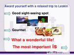 award yourself with a relaxed trip to leskin