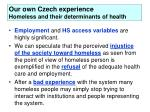 our own czech experience homeless and their determinants of health