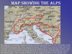 map showing the alps