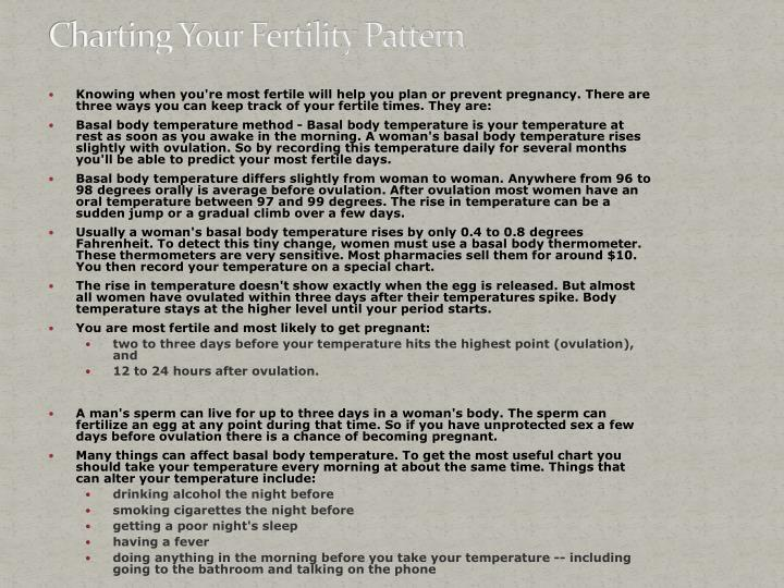 Charting your fertility pattern