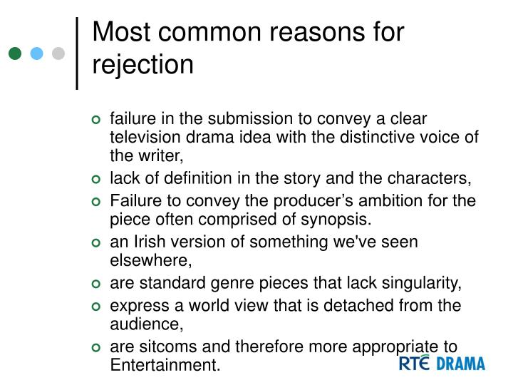 Most common reasons for rejection
