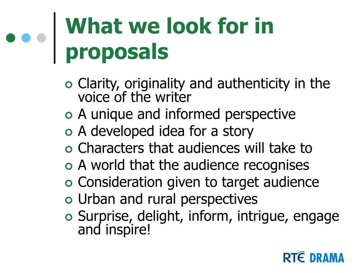 What we look for in proposals