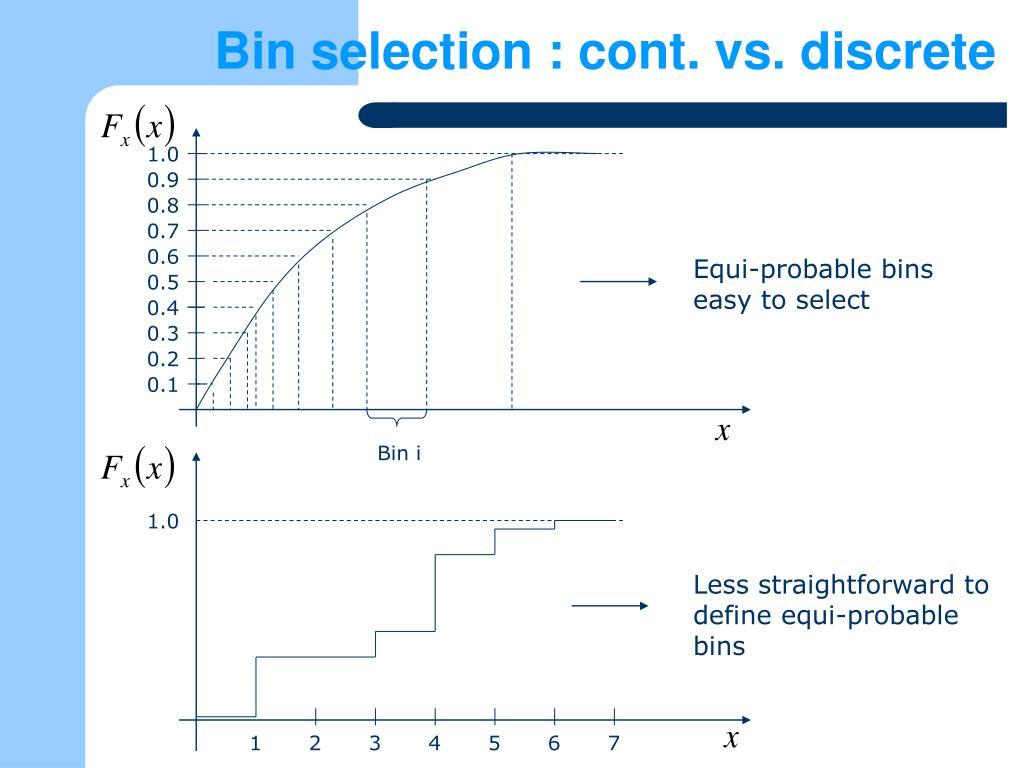Bin selection : cont. vs. discrete