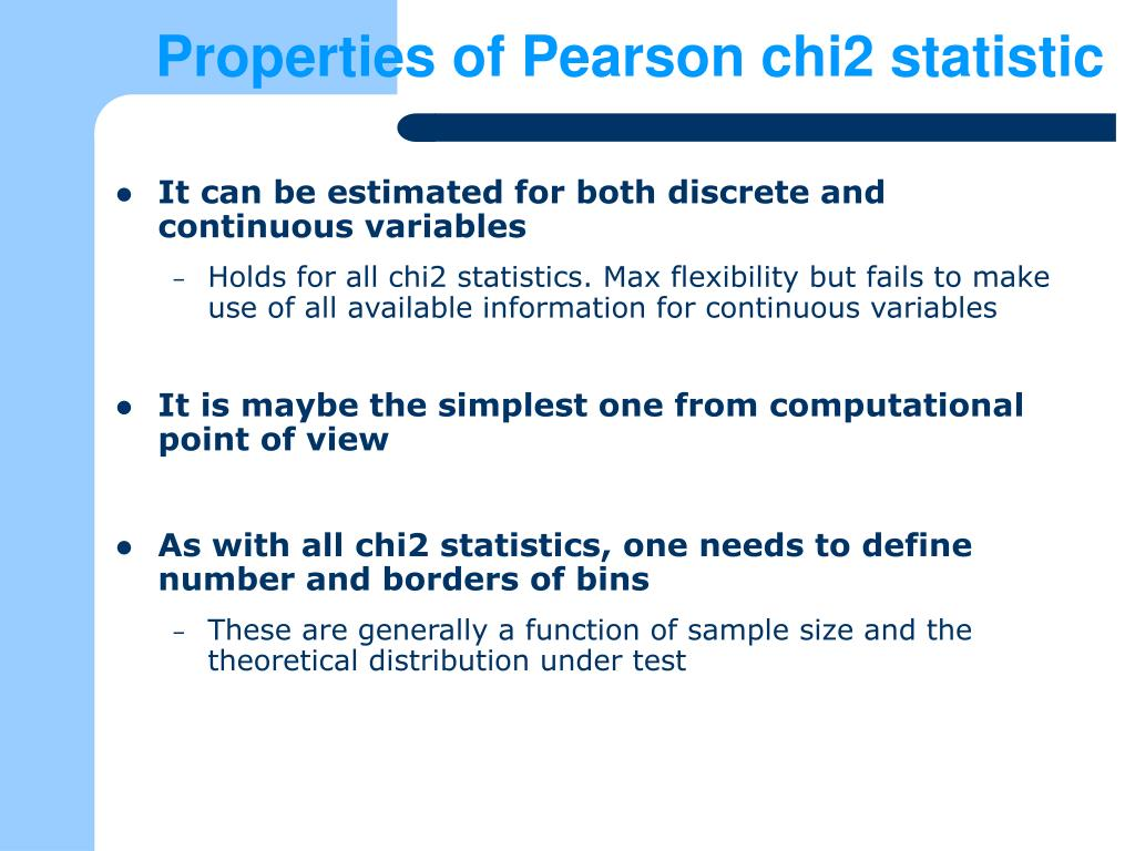Properties of Pearson chi2 statistic