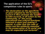 the application of the eu s competition rules to sports