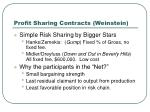 profit sharing contracts weinstein
