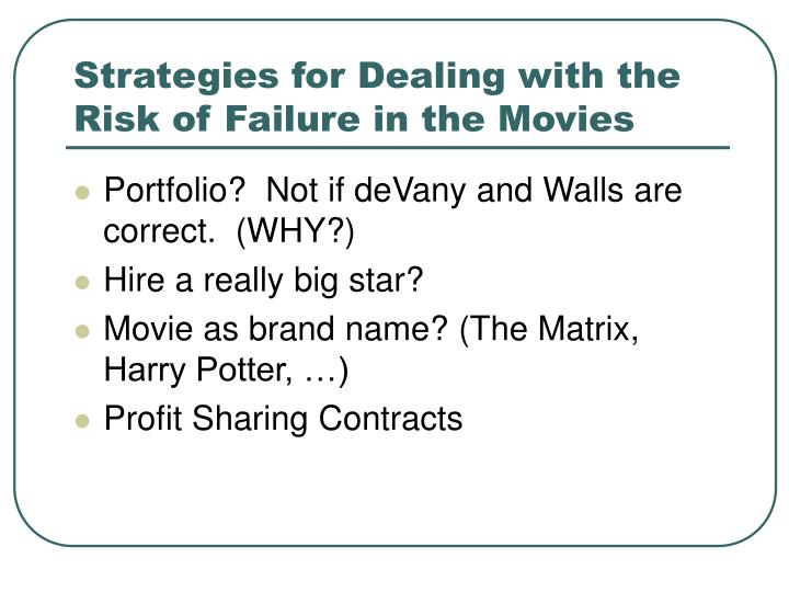 Strategies for Dealing with the Risk of Failure in the Movies