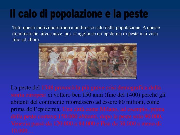 Il calo di popolazione e la peste
