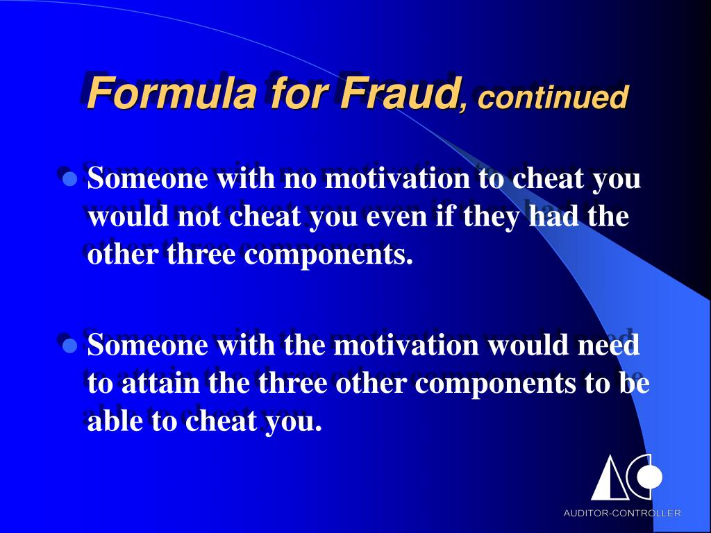 Formula for Fraud