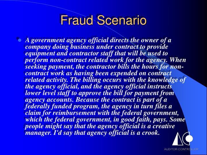 Fraud scenario