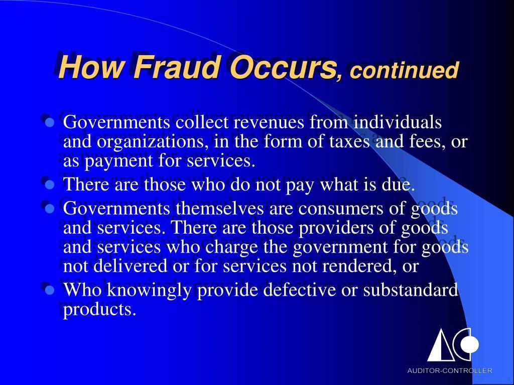 How Fraud Occurs