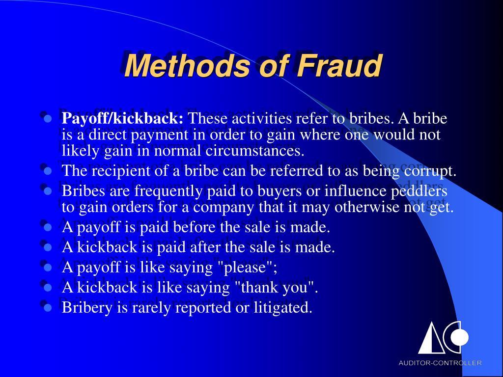 Methods of Fraud