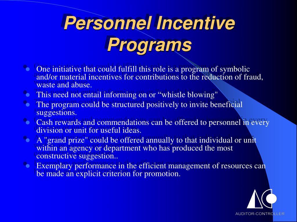 Personnel Incentive Programs