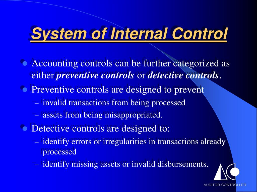 System of Internal Control