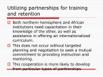 utilizing partnerships for training and retention