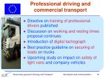professional driving and commercial transport