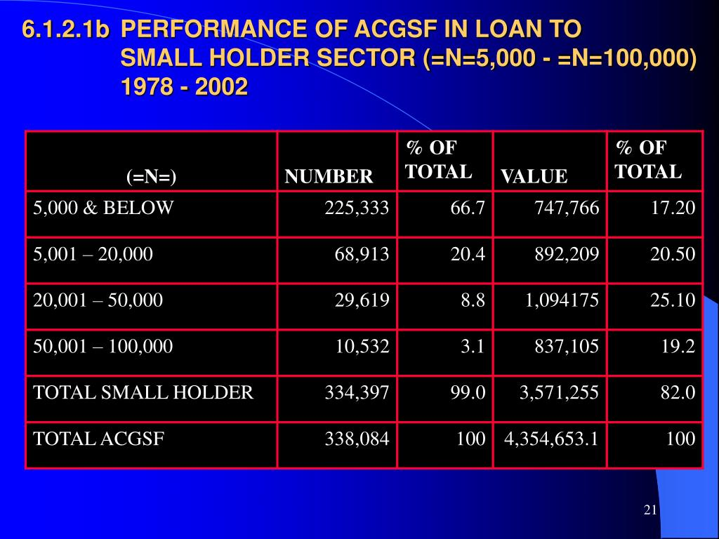 6.1.2.1b	PERFORMANCE OF ACGSF IN LOAN TO