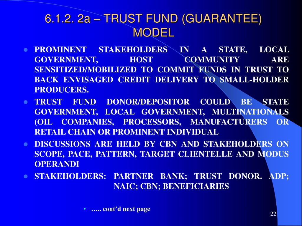 6.1.2. 2a – TRUST FUND (GUARANTEE) MODEL