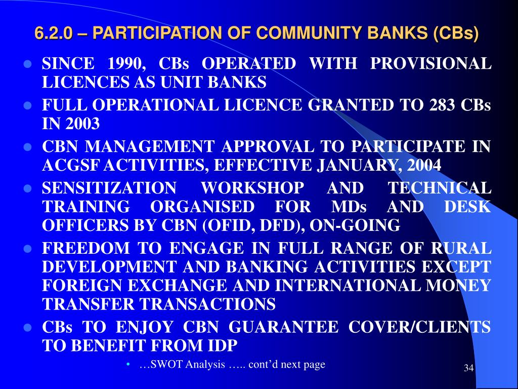 6.2.0 – PARTICIPATION OF COMMUNITY BANKS (CBs)