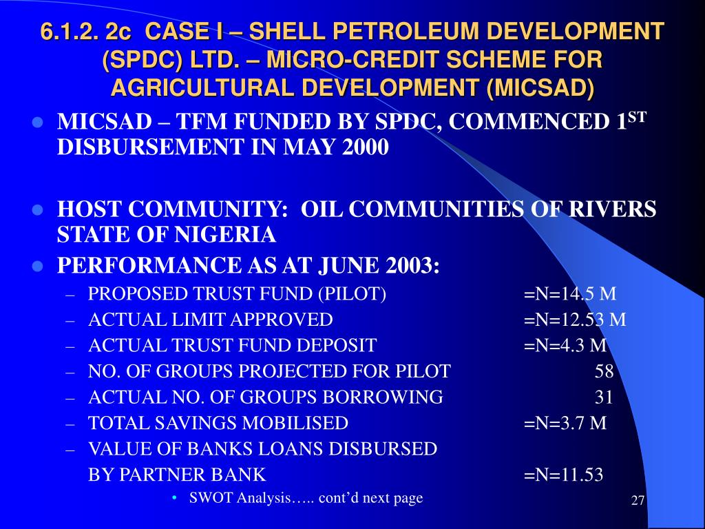 6.1.2. 2c  CASE I – SHELL PETROLEUM DEVELOPMENT (SPDC) LTD. – MICRO-CREDIT SCHEME FOR AGRICULTURAL DEVELOPMENT (MICSAD)