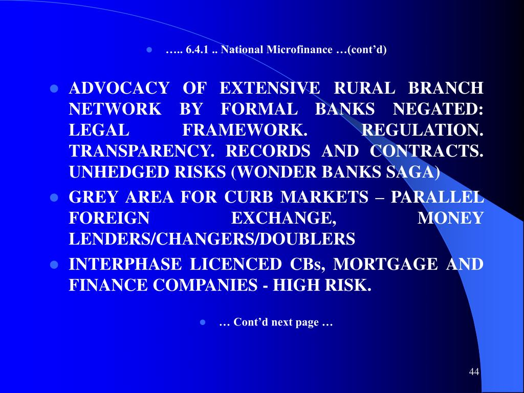 ….. 6.4.1 .. National Microfinance …(cont'd)