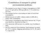 contribution of transport to global environmental problems