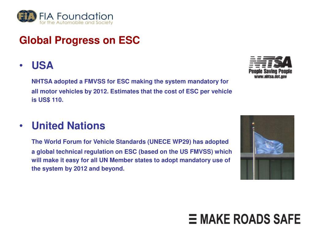 Global Progress on ESC