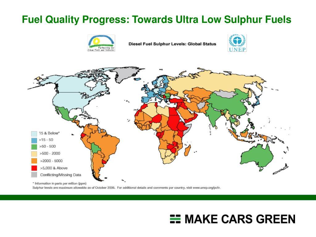 Fuel Quality Progress: Towards Ultra Low Sulphur Fuels