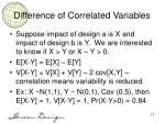 difference of correlated variables