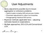 user adjustments