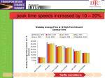 peak time speeds increased by 10 20