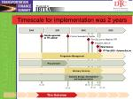 timescale for implementation was 2 years
