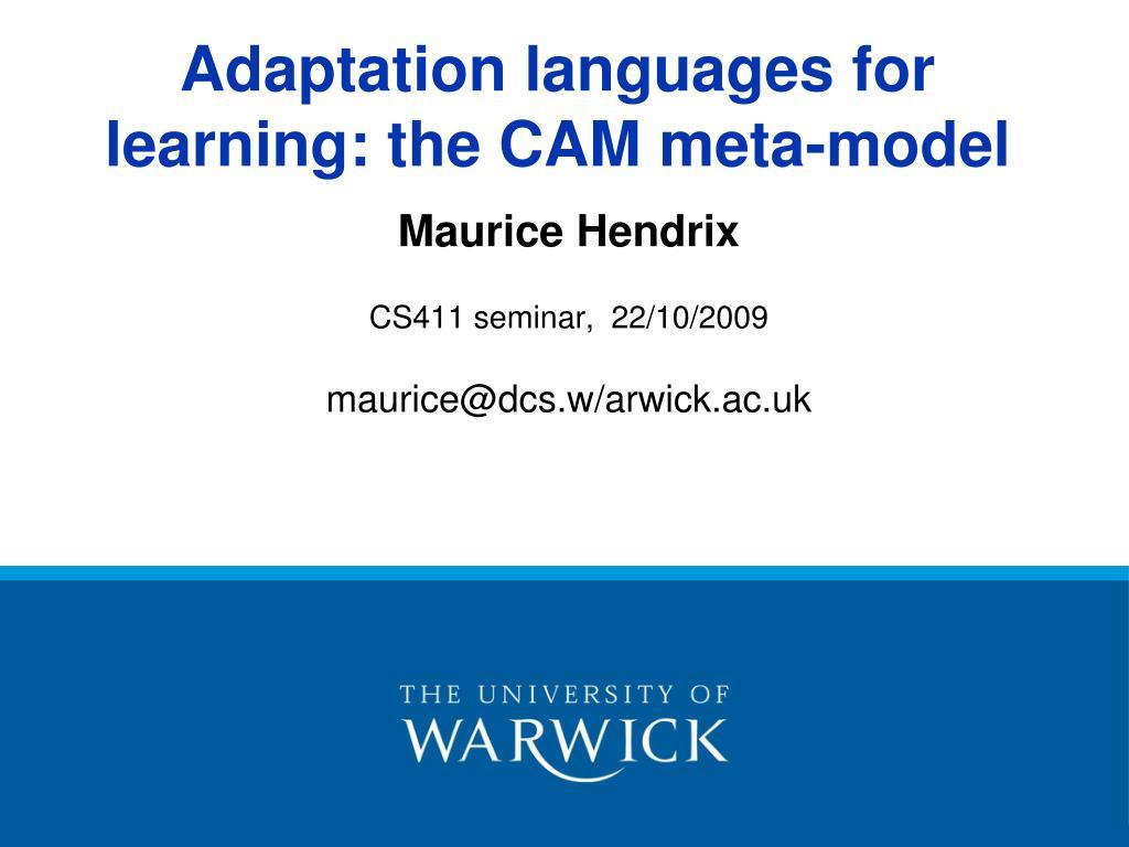 maurice hendrix cs411 seminar 22 10 2009 maurice@dcs w arwick ac uk l.