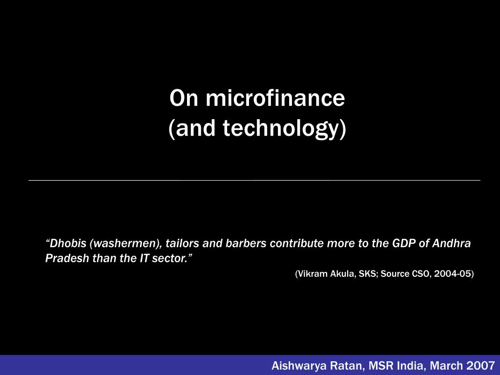 on microfinance and technology l.