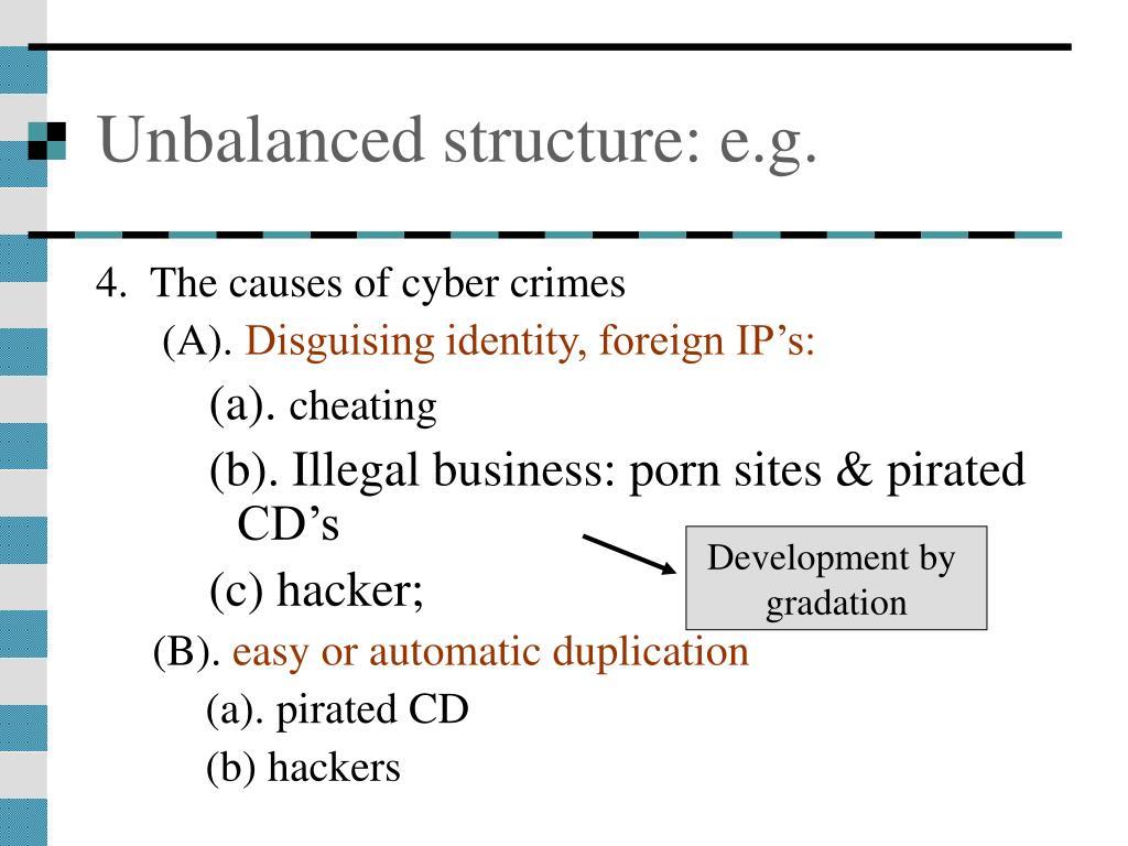 Unbalanced structure: e.g.