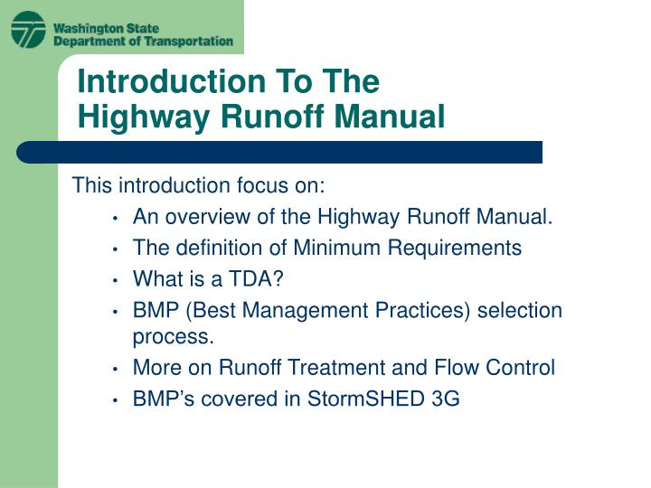 introduction to the highway runoff manual n.