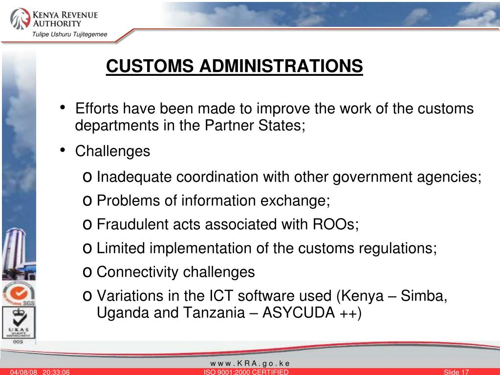CUSTOMS ADMINISTRATIONS