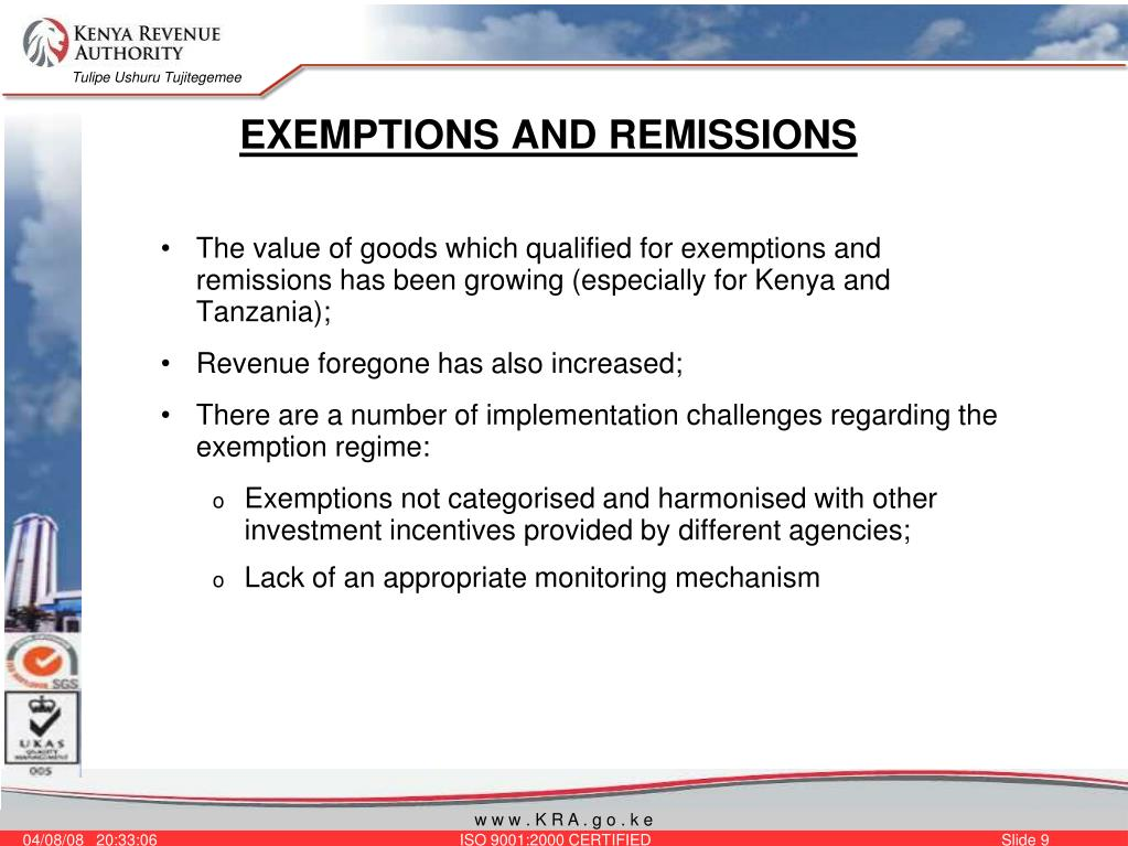 EXEMPTIONS AND REMISSIONS