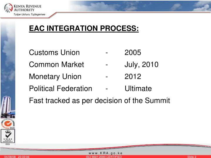 EAC INTEGRATION PROCESS: