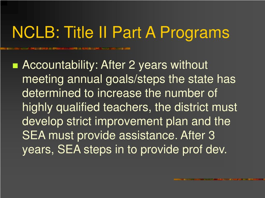 NCLB: Title II Part A Programs