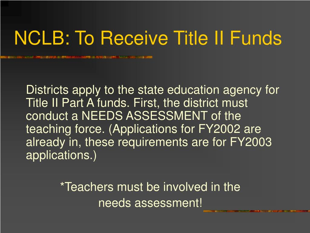 NCLB: To Receive Title II Funds