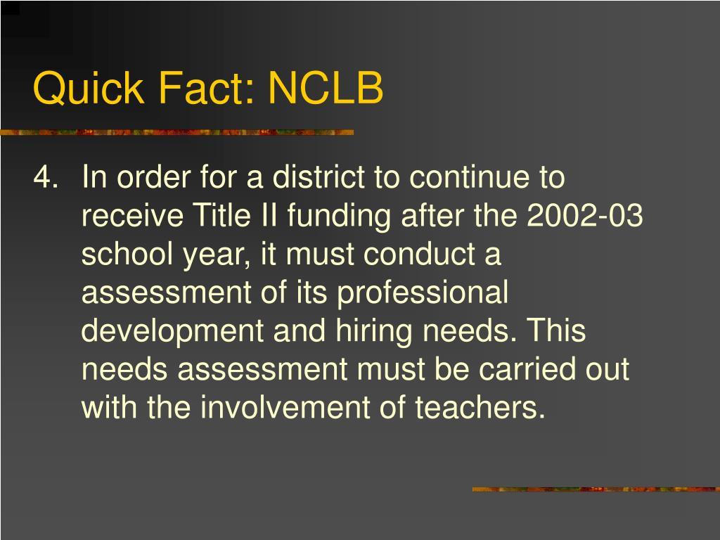 Quick Fact: NCLB
