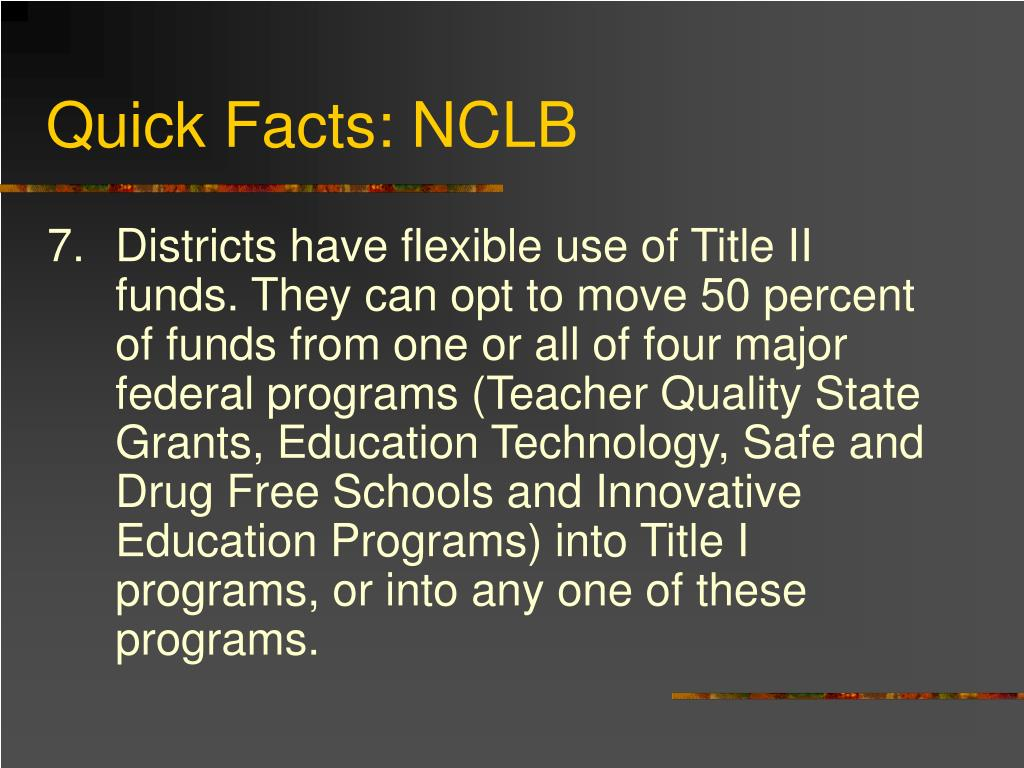 Quick Facts: NCLB