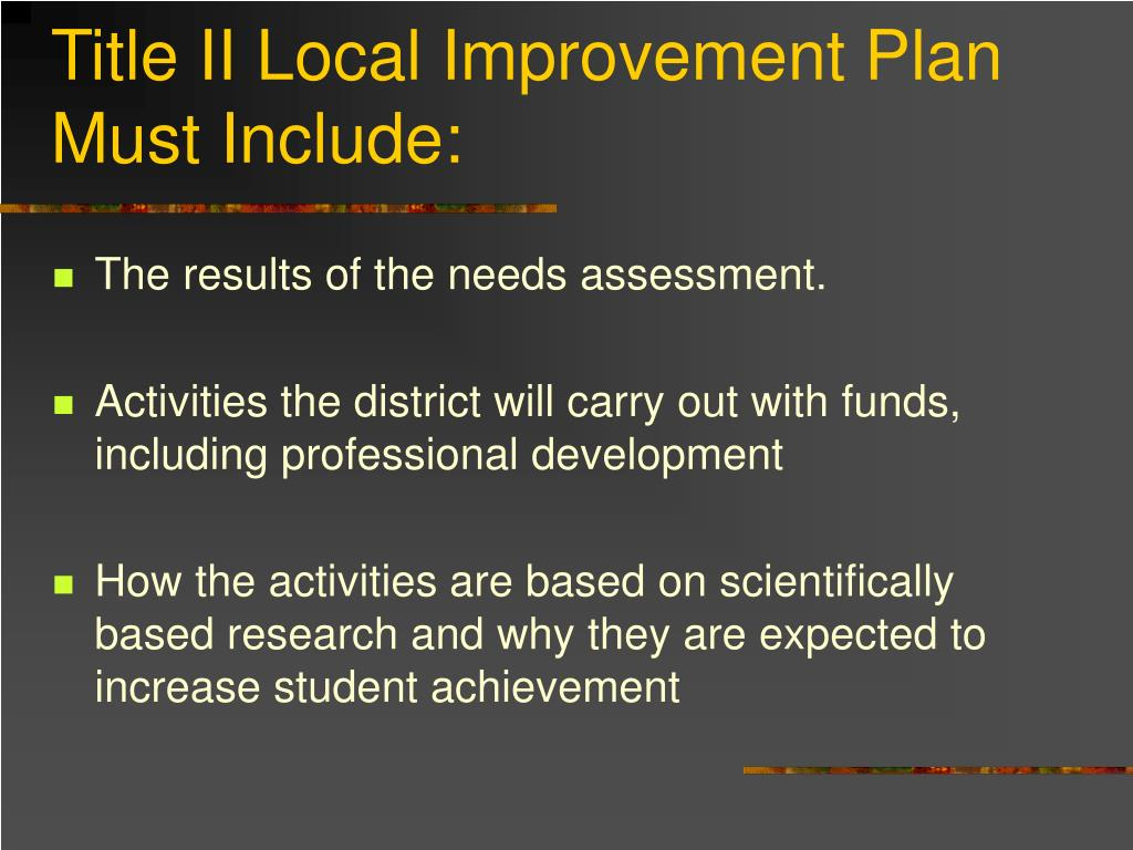 Title II Local Improvement Plan Must Include: