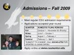 admissions fall 2009