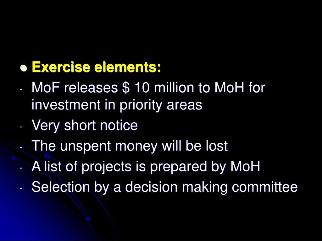 Exercise elements: