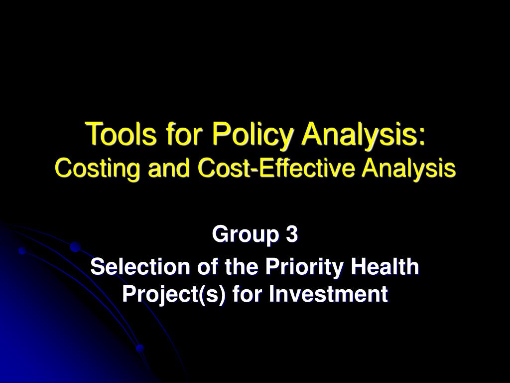 Tools for Policy Analysis: