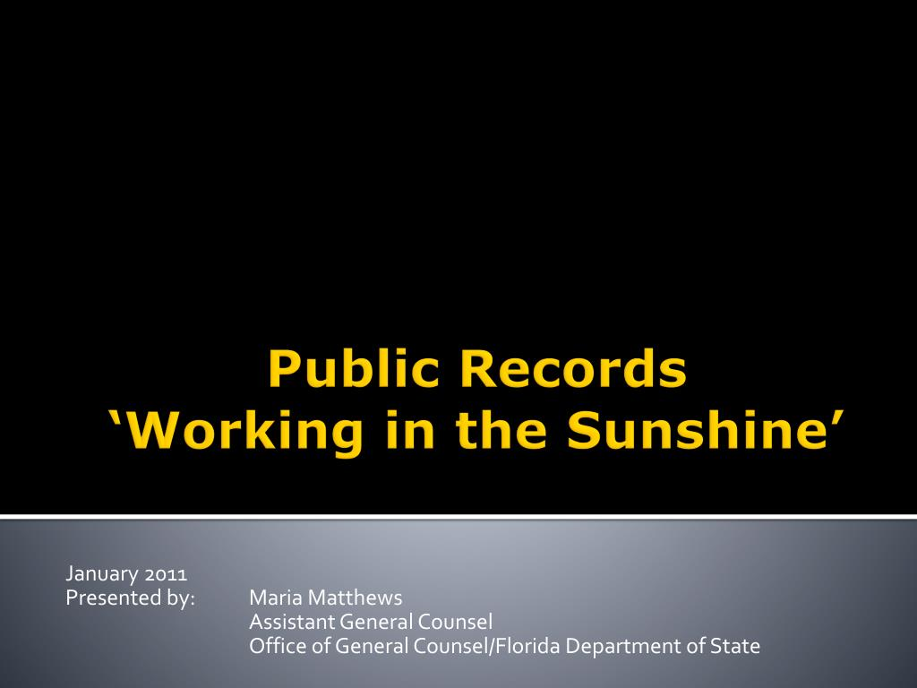 public records working in the sunshine l.