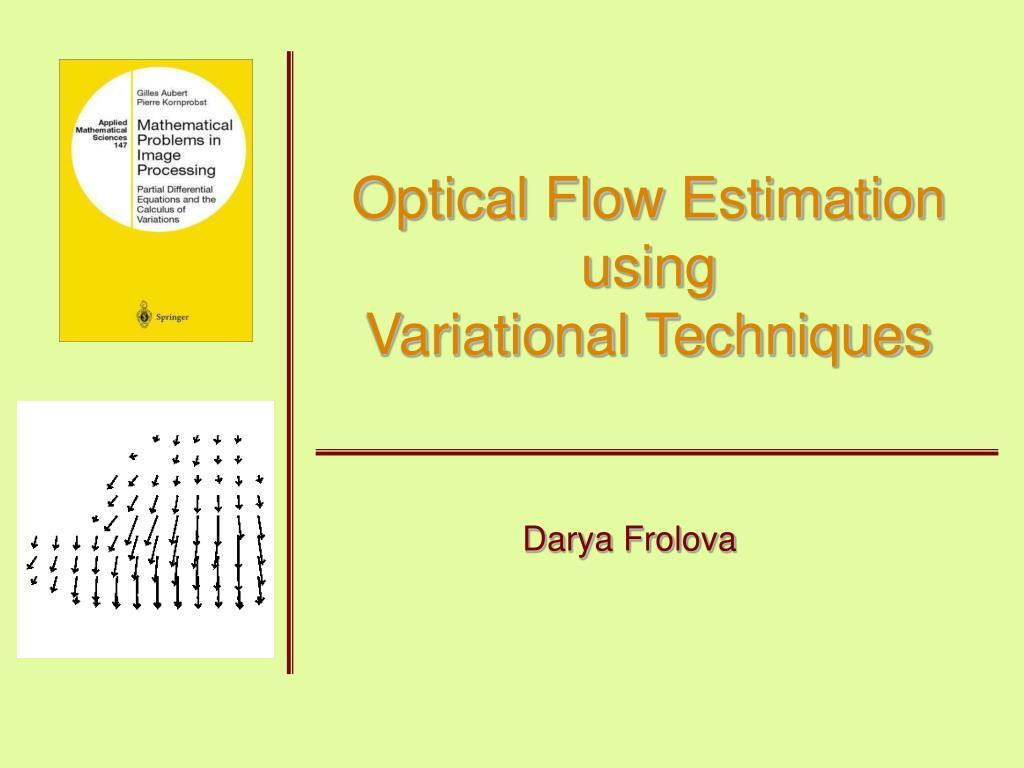optical flow estimation using variational techniques l.