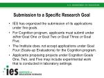 submission to a specific research goal